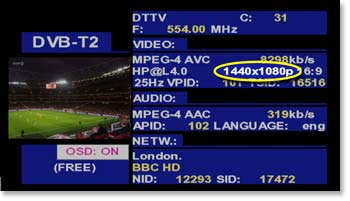 DVB-T2 measurements screen on a TV EXPLORER HD+