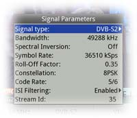 Signal parameters of the current DVB-S2 multiplex