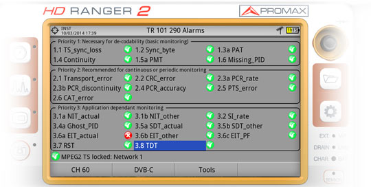 Transport Stream monitoring and alarms managing accorgding to TR 101 290 in the HD RANGER 2 field strength meter