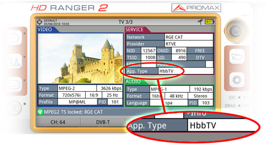 HbbTV standard detected in the HD RANGER field strength meter by PROMAX