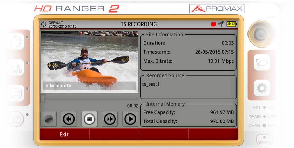Recording a Transport Stream in the HD RANGER 2