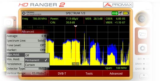 Max hold on the signal. The maximum power of the spectrum is traced in blue, behind the real-time spectrum (yellow).
