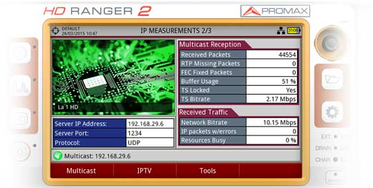 One of the three measurement screens for IPTV available in the RANGER Neo 2