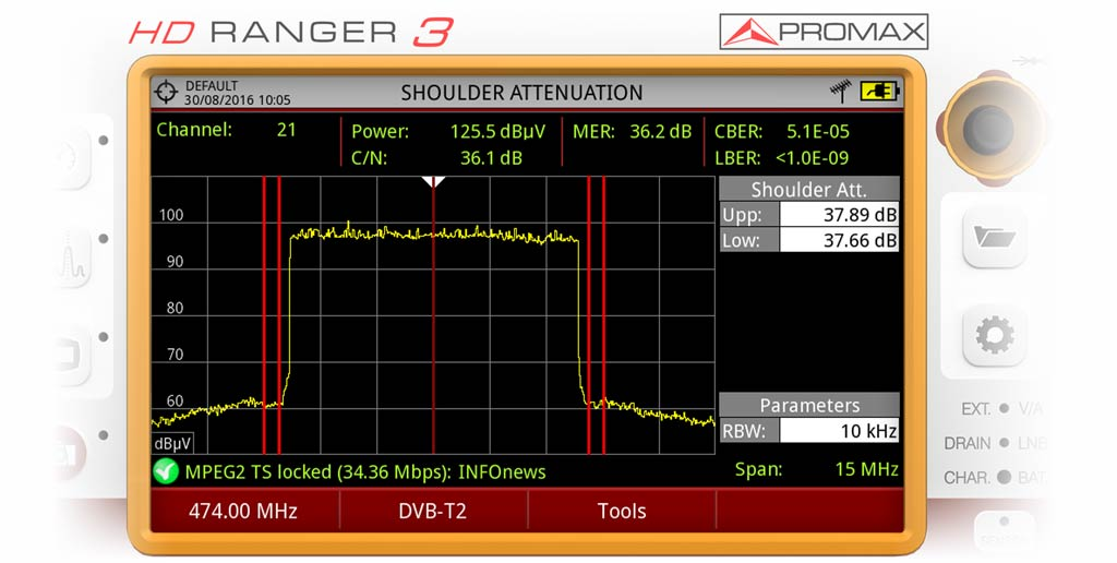 Measuring shoulder in a DVB-T2 channel using a RANGER Neo 3 field strength meter