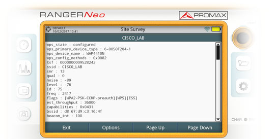 WiFi network information in the analyser