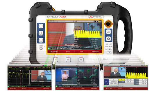 Triple split screen display in a field strength meter model RANGER Neo: Three simultaneous functions