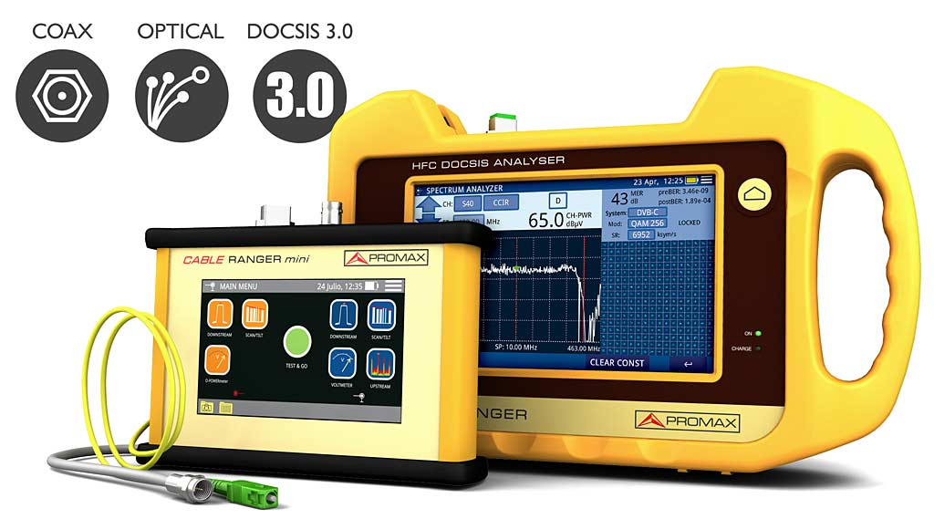 CABLE RANGER - Hybrid analyzers for optical fibre and coax