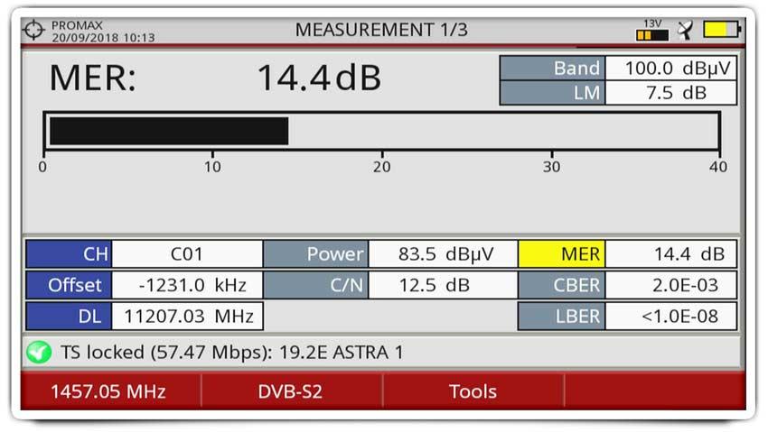 Installing a satellite dish using a TV spectrum analyzer