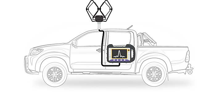 Vehicle equipped to carry out a signal coverage analysis (drive test) of digital terrestrial signal