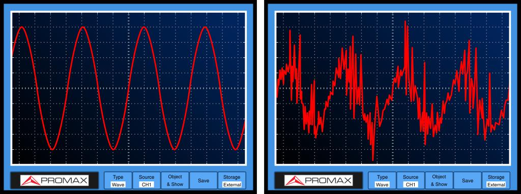 A perfect sine wave (left) and a wave closer to reality (right) affected by noise