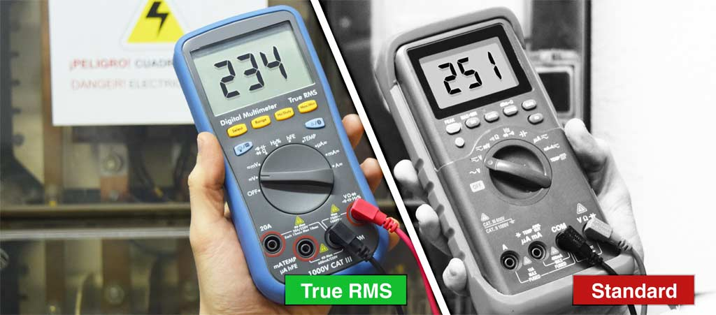 The difference between the measurement using a standard multimeter and a True RMS one