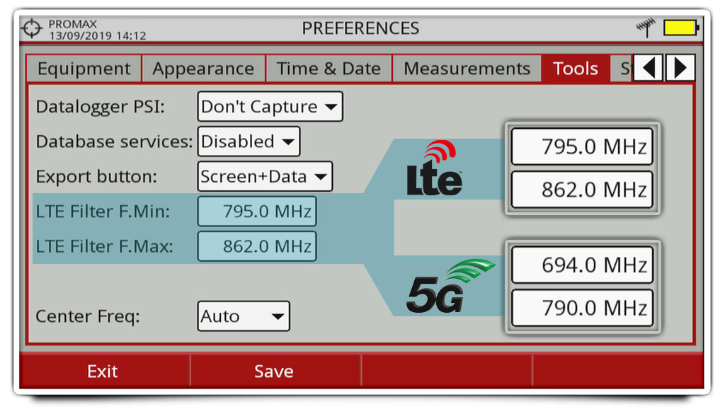 Adjusting the frequency band under analysis in the LTE Ingress Test for the 5G